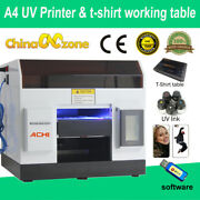 A4 Uv Printer Epson R330 Printer Head Flatbed Cylindrical Andt-shirt Working Table