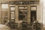 Early Indian Motorcycle Shop Metal Print - Canvas- Fujifilm Poster 36 X 24
