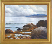 Robert William Wood Original Painting Oil On Canvas Signed Seascape Water Art