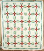 Well Quilted Vintage 20and039s Pickle Dish Antique Quilt Nice Sawtooth Border