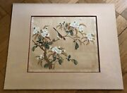 Antique Chinese /japanese Sparrow And Tree Watercolor Painting On Silk. Sealed