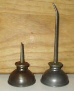 2 Antique Small Oil Cans-2 3/4 And 5 1/8 Tall