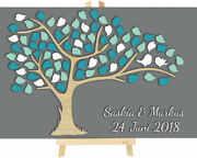 3d Tree Wooden Wedding Personalised With Leaves