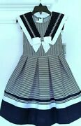 Bonnie Jean Little Girland039s Stripe Nautical Fit And Flare Fanciful Dress-size-5 Or 6