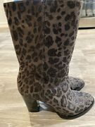 Authentic Jimmy Choo Suede Music Mid-calf Boots Shoes 36.5