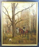 Eugene Eugen Van Kramer Painting Of Hunters In The Woods With Hunting Dogs