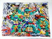 Signed Painting Contemporary Tmnt Abstract Expressionism Pop Art Rudy Rios