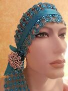 Gatsby Flapper 20and039sturquoise Illusion Jewel Mesh Crystal Bridal Headpiece Party