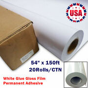 20rolls 54 1.37m White Glue Gloss Film With Permanent Adhesive Vehicle Wraps