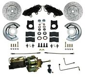 Power Front Disc Brake Conversion Kit Black Powder Coated Calipers