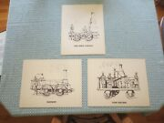 3 Early 19th Century Antique Steam Locomotives Sketch Prints - Signed Webb