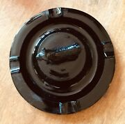 Vintage Airedale Terrier Onyx Poured Black Glass Ashtray 1930's