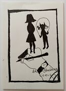 Charles Blackman Drawing Girl And Cat Original Signed Ink On Paper 30cm X 21cm
