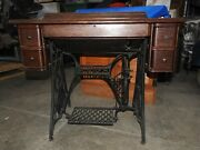 Antique Singer Treadle Sewing Machine With Cabinet And Drawers