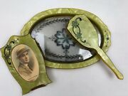 Antique Bedroom Vanity Set Celluloid-tray-hairbrush-frame-crystals-floral-green
