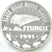 1991 Black Hills Motor Classic Sturgis .999 Silver 1 Ozt. With Capsule 1119