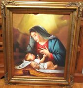 Henry Nelson Holy Mother Large Original Oil On Canvas Painting Framed