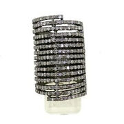 3.34cts Natural Old Mine Pave Rose Cut Diamond Silver Vintage Style Ring Jewelry