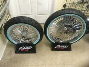 A Set Chrome Fat Spoke Wheels And Tires Package For 2000 Flhr