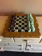 Vintage Chinese Chess Board Set With Sandstone Hand Carver Piecesandnbsp