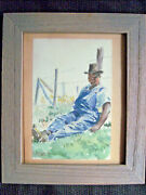 Nick Zuraw Original Watercolor Painting Study Portrait Signed Dated 1941 11x13