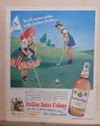 1950 Magazine Ad For Italian Swiss Colony Wine - The Colony Corkers On 18th Hole