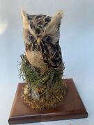 Great Horned Owl Handcrafted Figurine Statue On Wood Stand