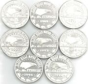 1989-1995 Black Hills Motor Classic 8 Sturgis Silver 1 Oz Rounds With Capsule