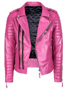 Dress Club Menand039s Motorcycle Biker Jackets Retro Quality Pink Leather Jackets