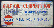 Gulf Oil Company Posey And Baker Lease Gas Oil Field Well Metal Sign
