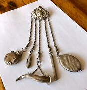 Antique Birmingham Sterling Silver Chatelaine With 5 Tools