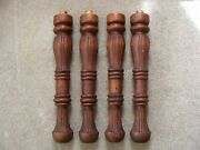 4 Vintage Antique Pine Table Legs Kitchen / Dining With Mounting Dowels 24