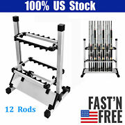 12 Rods Fishing Rod Pole Holder Stand Aluminum Alloy Organizer Rack Us Selivery