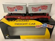 ✅k-line By Lionel Ringling Bros Barnum Bailey Circus Flat Car And 2 Pup Trailers