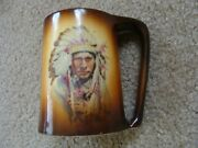 Warwick Porcelain / China Mug Decorated With Native American Indian Chief