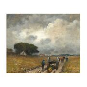 """""""men Hauling Logs"""" Antique American Barbizon Oil Painting By Frank Russell Green"""