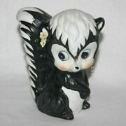 Vintage Skunk Animal Piggy Coin Bank Flowers Collectible Figurine Black And White