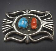 Vintage Navajo Heavy Sand Cast Sterling Silver Coral And Turquoise Belt Buckle
