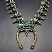 Vintage Navajo Hand Stamped Sterling Silver Turquoise Squash Blossom Necklace