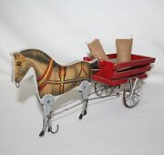 """Whimsical Antique 1908 - 1928 Gibbs Mfg """"pacing Bob"""" Wood And Metal Horse Pull Toy"""