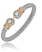 Alwand Vahan Halo Pearl Cuff Bracelet 14k Gold And Ss 0.18ctw Style 21810dwp