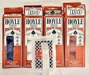 4 Hoyle 100 Poker Chips W/plastic Tray Vintage 1992 Set, White Red Blue And Deck