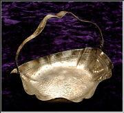 Deco Bernard Rice And Sons Apollo Hammered Greek Key Silver Plate Handled Basket