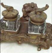 Nice Antique Late 1800's Victorian Bronze Figural Desk Inkwell Stand Set Brass