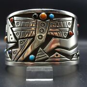 Aaron John Navajo Sterling Silver Turquoise Jet Coral Dragonfly Cuff Bracelet
