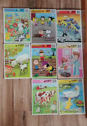 8 Vintage Golden Frame-tray Puzzle Baby Animals Pound Puppies Peanuts Gobots Lot