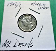 1942/1 Mercury Dime Au Details. High Grade Hard To Find This Nice.