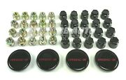 Red Wheel Center Caps 16 W/ Lug Nuts Black Covers Set For 85-87 Iroc Z Camaro