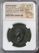 54- 68 Ad Roman Empire Nero Ae Sestertius Ceres Seated Coin Ngc Choice Very Fine
