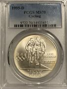 1995-d Cycling Pcgs Ms70 Commemorative Us Silver Dollar